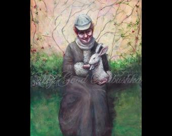 Beatrix Potter with Pet Rabbit, Original Painting, Pet, Writer, Woman, Peter Rabbit, Storyteller, Portrait, Victorian, Illustrator, Artist
