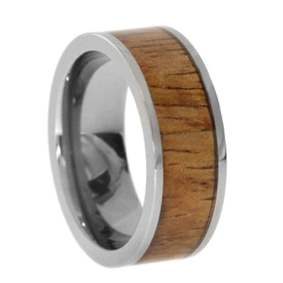 wood and metal ring titanium wedding band inlaid by