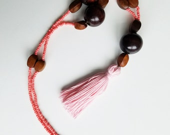 CLEARANCE Coral and Wood Tassel Necklace, Wooden Necklace, Coral Pink Tassel Necklace, Boho Necklace, Long Tassel Necklace, Coral Necklace