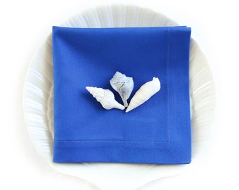 Organic Napkins, Eco Friendly Cloth Napkins, Reusable - Marine Blue, Set of Four