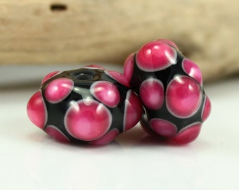 Made to Order - One Pair of Black and Fuchsia, Lampwork Beads, Handmade Glass Beads, SRA Beads
