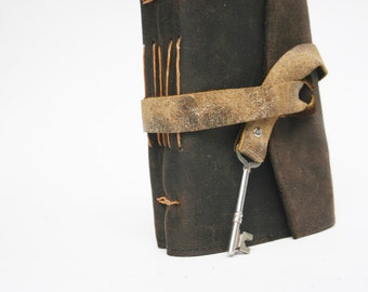 Rugged Brown Leather Travel Journal with Real Skeleton Key
