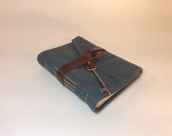 Blue leather diary perfect for sketching or writing