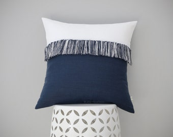 """Navy and Cream Fringe Pillow Cover with Hand Knotted Tassels 20"""" x 20"""" by JillianReneDecor - Modern Home Decor - Mod - Boho - Nautical"""