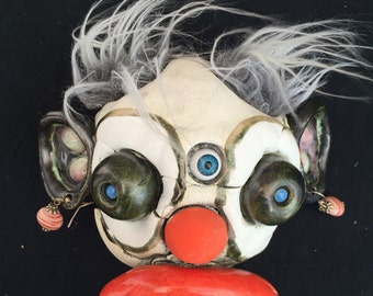 Ceramic clown head, wall hanging, mixed media