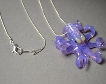 Ocean Purple Octopus Pendant with White spots