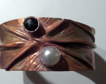 Folded Copper Cuff with Black Star Diopside and Pearl Blister
