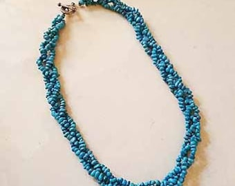 braided turquoise bead necklace