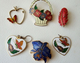 Vintage 1980s Cloisonne Jewellery Lot - Brooches, Earrings, Pendant with Feather, Flowers and Butterflies