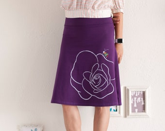 Women Cotton Skirt with Canvas Applique, Pull on cotton skirt, Cotton jersey skirt, Midi A line Knee length skirt - Bug has gone for a walk