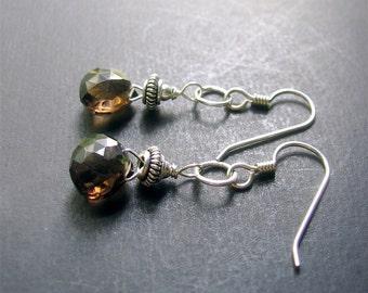 Smoky Quartz Earrings, Smoky Quartz Sterling Silver Earrings, Long Briolette Earrings