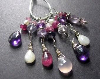 Gemstone Charm Necklace, Long Charm Necklace, Long Boho Necklace