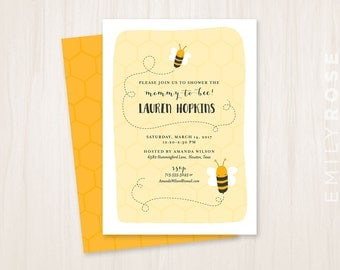 Mommy to Bee Baby Shower Invitation Printable PDF | Mommy to be | Baby Shower Invite | Bumble Bee | Customized | Digital Download