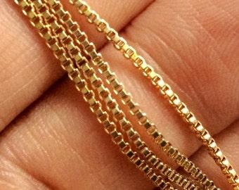 60cm- Matte Gold Plated Very Small Venetian Box Chain-1x1mm-(026-006GP)