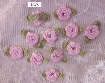 12 pc Set HANDMADE Pink Ribbon Rosette Spider Rose Flower w Stone Applique Antique Doll Dog Baby Hair Bow