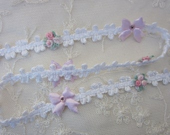 Pink Rose Bud Flower White Woven Ribbon Trim w Rhinestone Satin Bow Scrapbook Baby Quilt