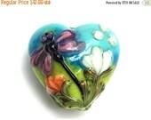 ON SALE 50% OFF 11816905 Purple Dragonfly w/Orange Flora Heart Pendant - Handmade Glass Lampwork Bead