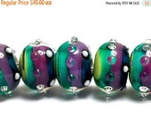 ON SALE 50% OFF New! Handmade Glass Lampwork Bead Set - 11008701 Seven Begonia Stripes Rondelle Beads