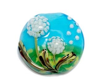 NEW! 11838902 Dandelion Wishes Lentil Focal Bead - Handmade Glass Lampwork Bead