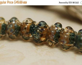 ON SALE 50% OFF Handmade Glass Lampwork Bead Sets - Seven Blue & Orange Borosilicate Rondelle Beads - 10409401