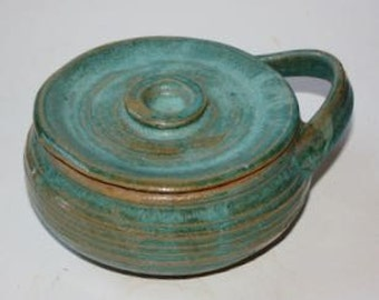 Aqua Stoneware Shaving Mug with Lid Made in Vermont A Green Item