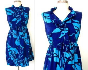 1960s Mini Dress / 60s Floral Mini Dress / BLUE ROSES Summer Dress