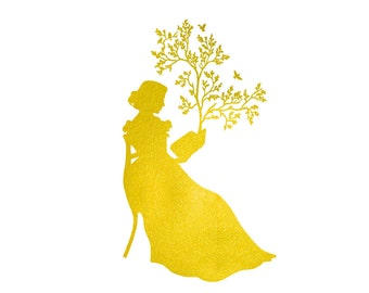 Gold A Remarkable Book Silhouette Print Golden and White Tree Birds Metallic