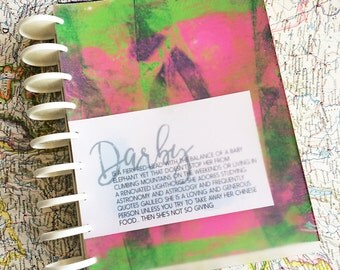 Darby- 7x9 Disc Bound Journal with Ephemera Paper Inserts for Art Journaling or Planners