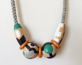 Necklace 3.2 : handpainted wood beads and vintage acrylic beads on cotton rope - hand painted beaded wearable art jewery statement necklace