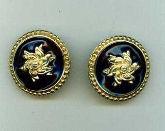 Vintage Black Enamel Earrings