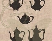 Tea Pot Collage Digital VintageSilhouettes Printable Package Clip Art Instant Download Illustrations Iron On