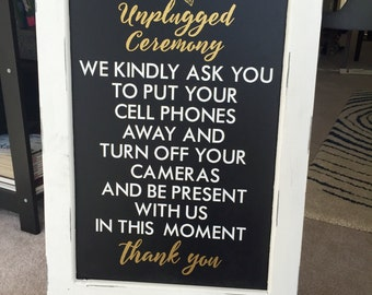 Wedding Unplugged Ceremony Sayings Custom Wall Decor Words Vinyl Lettering Decal Quotations  Venue Decoration Sign Wording