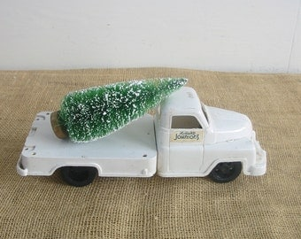 Vintage White Toy Truck Boy Nursery Decor Industrial Pick Up