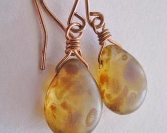 Tortoiseshell Earrings, Tortoiseshell Briolette Earrings, Light Mottled Brown and Copper Earrings