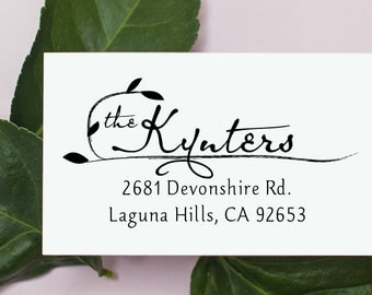 Custom Address Stamp, Self Inking Rubber Stamp, Wooden Address Stamp, Pre Inked, Calligraphy Stamp, Personalized Gift, Wedding Gift - 1032