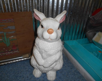 Vintage White Porcelain Bunny Rabbit Cookie Jar or Canister