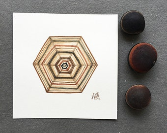 Hex, miniature, small, original watercolor painting