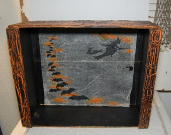 Vintage Halloween Wooden Crate Box Paper Witch Tablecloth Halloween Display Bats
