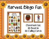 HARVEST FALL BINGO 30 5x5 Boards Calling Cards Classroom Party Game Printable Teacher Homeschool Halloween