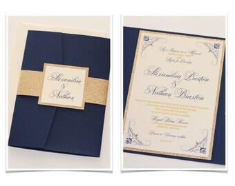 Alexandria Navy Blue and Gold Glitter Wedding Invitation, Pocketfold Invitation, Elegant Wedding Invitation - Wedding Stationery - Sample