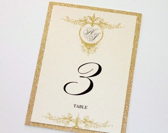 Glitter Table Numbers - Couture Table Numbers - Gold Glitter Table Cards - Wedding Reception Stationery - Gold Ivory - Harper Sample
