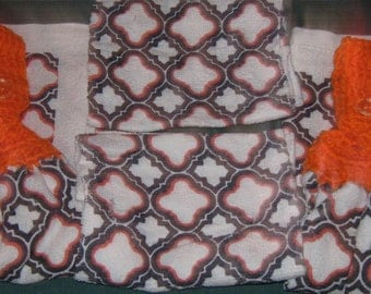 Kitchen Set, 2 hanging towels, 2 dish cloths, Geometric design, orange top