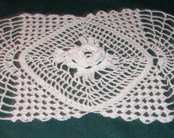 "Crochet Cotton Doily, 15"" long by 8"" wide, white, rose in center"