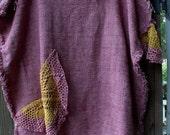Fringey/Frazzled/Embellished/Plus Size/Caftan Style/Fashion Burlap/Vintage Crochet/Funky Fun Wear