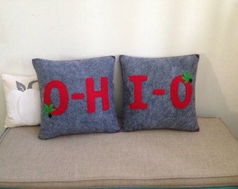 O-H-I-O OSU Buckeyes 14x14 Felt Decorative Pillow set Scarlet and Gray
