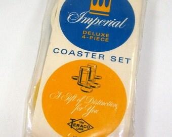 Vintage Plastic Coasters, 4-Piece Set, Imperial, Orange, Yellow, White, Teal Blue, Teraco Line, Souvenir Fontainebleau, NOS, Retro  (968-15)