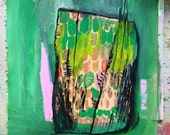 Green Terrarium, original oil painting on paper with sweing