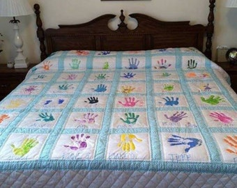 Custom made handprint quilt