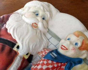 Vintage Howdy Doody Santa Claus Light Up Wall Hanging 1950's