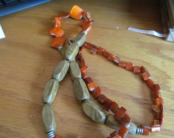 Orange shell with stone necklace